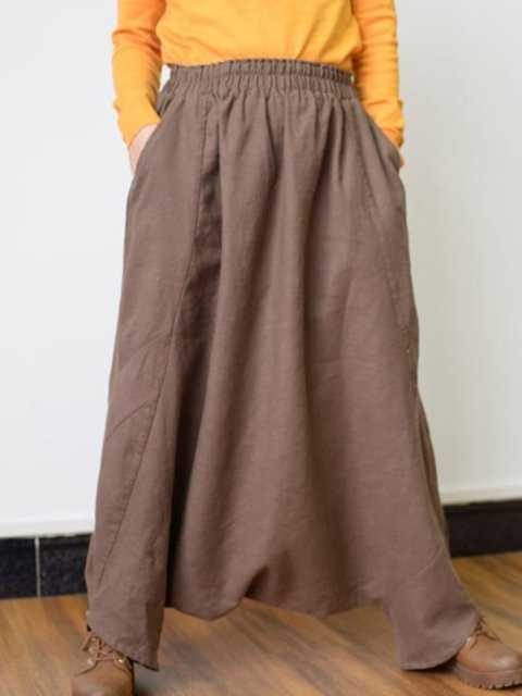 Casual Linen Asymmetric Pants