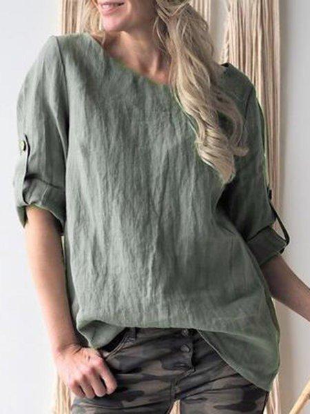 Plus Size Linen Solid 2019 New Tops Blouses