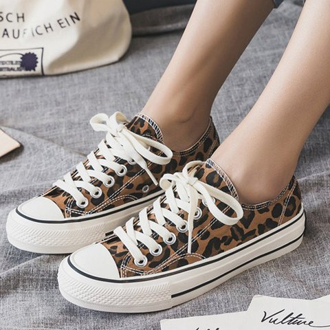 Women Leopard Lace Up Sneakers Casual Shoes
