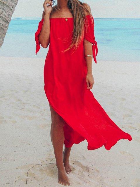 Sleeveless Solid Off Shoulder Dresses