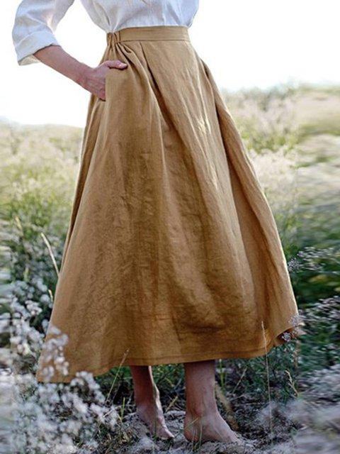 Khaki Pockets Swing Cotton Skirts