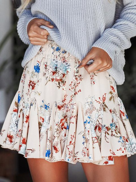 As Picture Printed Sweet Floral Skirts
