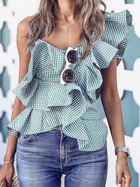 Green Checkered/plaid One Shoulder Ruffled Sexy Shirts & Tops