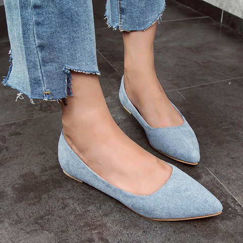 Women's Suede Pointed Toe Shoes All Season Slip-On Flats
