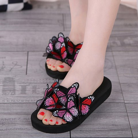 Plus size Female Butterfly Sandals Platform Slippers