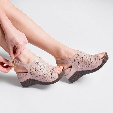 Women's Plus Size Adjustable Buckle Hollow-out Peep Toe Sandals
