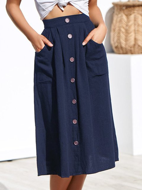 2b914a49a113 Solid Cotton Casual Skirts - JustFashionNow.com