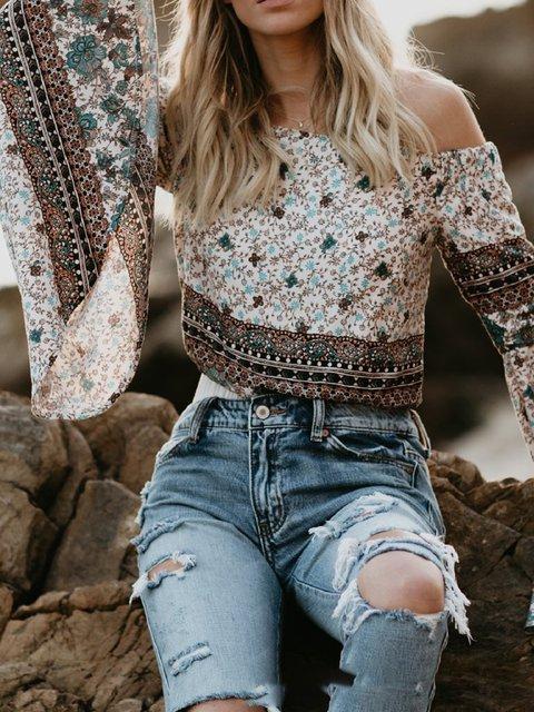 Flower Long Sleeve Cotton Off Shoulder Shirts & Blouses