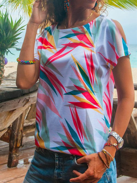 White Short Sleeve Printed Abstract Casual T-Shirts