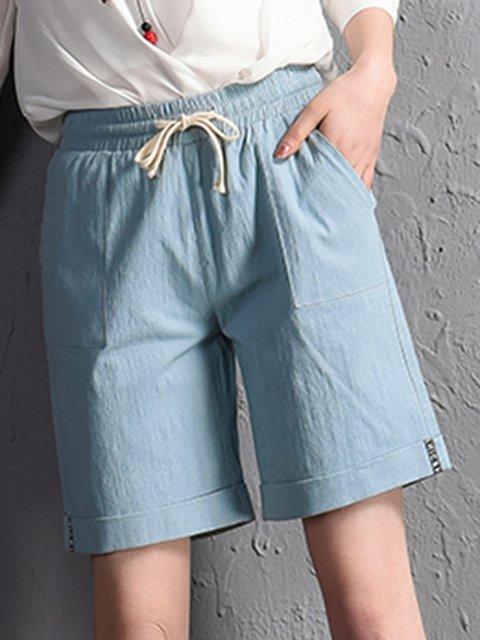 Summer Pockets Drawstring Casual Shorts