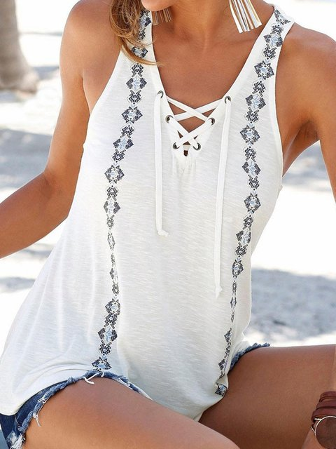Summer Lace-up V Neck Sleeveless Printed Tanks