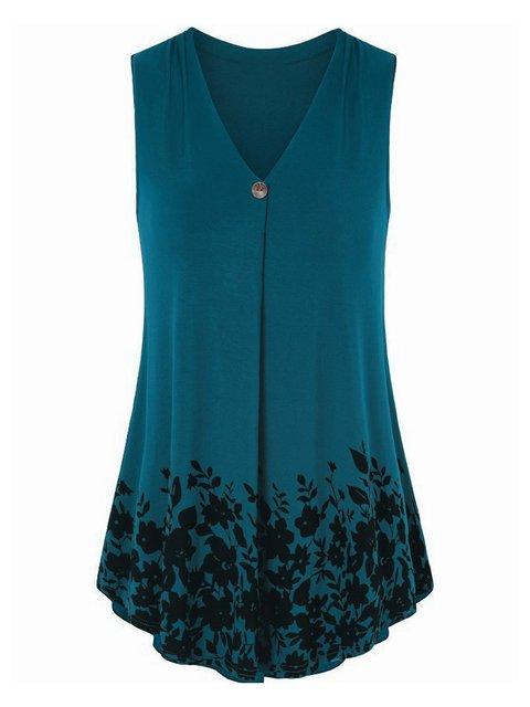 6 Colors Plus Size V Neck Simple & Basic Floral Print Long Camis Tops