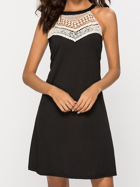 Black Women Summer Dresses Shift Daily Lace Paneled Dresses