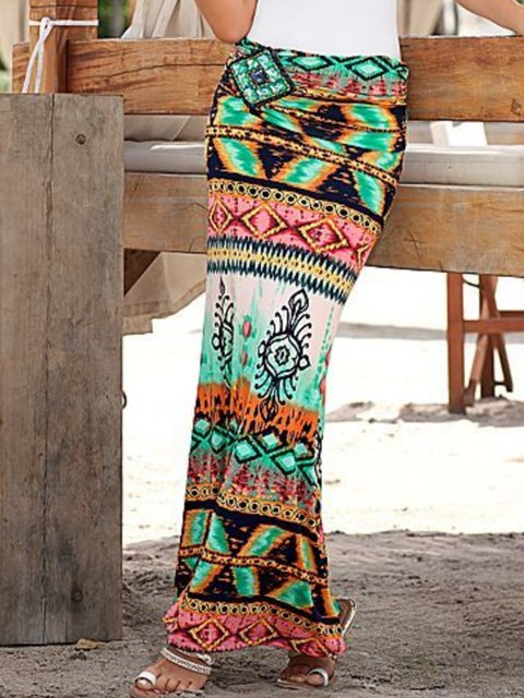 Boho Vintage Geometric Beach Long Skirts