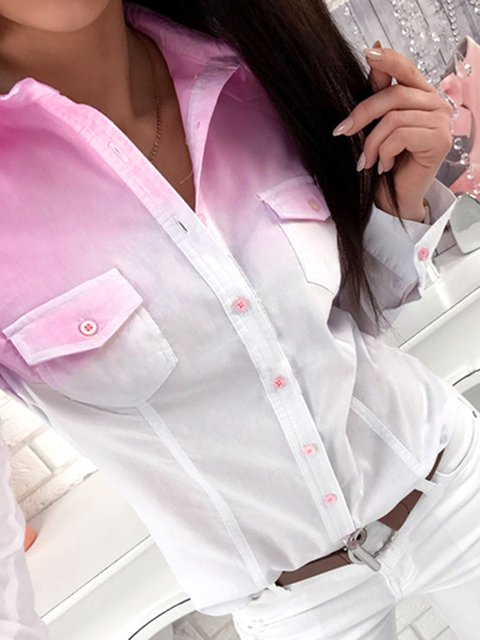 Tie-Dye Buttoned Pockets Casual Shirts
