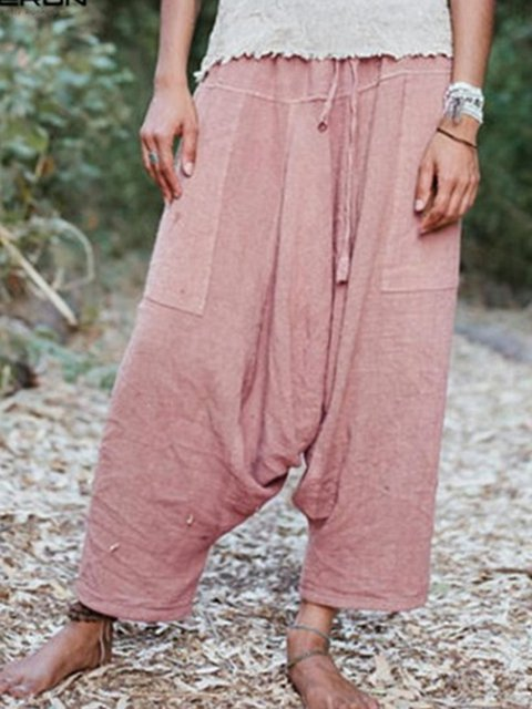 Casual Linen Loose Lace Up Solid Pants