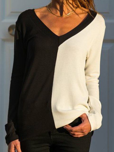 Long Sleeve Paneled V Neck Solid Shirts & Tops