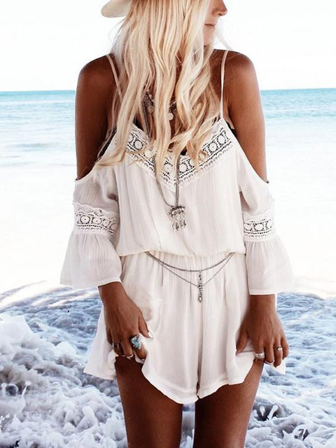 Boho Chiffon Spaghetti V-Neck Cold Shoulder Beach Jumpsuits