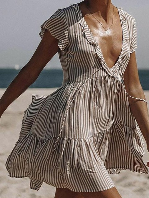 Khaki Women Summer Dresses Shift Daily Boho Striped Dresses
