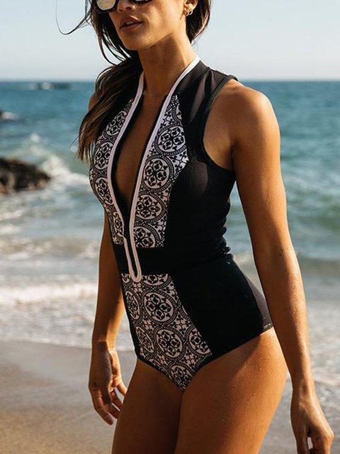 Boho Vintage Padded Beach One-Piece Swimwear