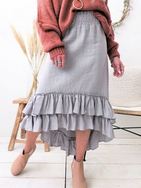 Ruffled Solid Linen Skirts