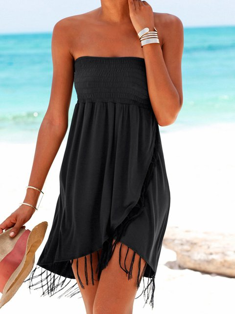 Off Shoulder Black Women Dresses Shift Beach Cotton-Blend Plain Dresses