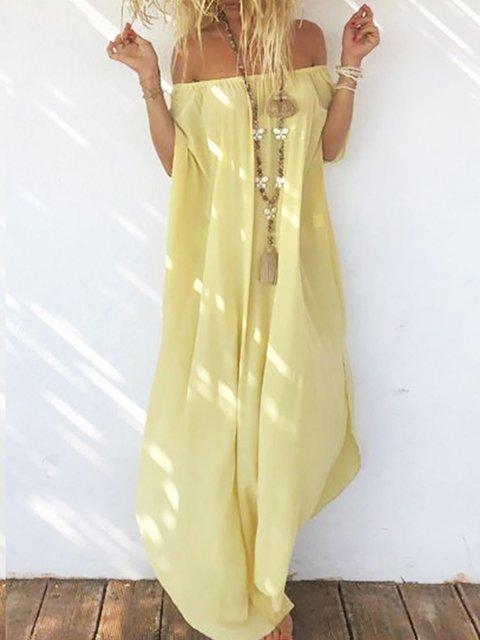Women Summer Dresses Shift Beach Boho Silk-Chiffon Dresses