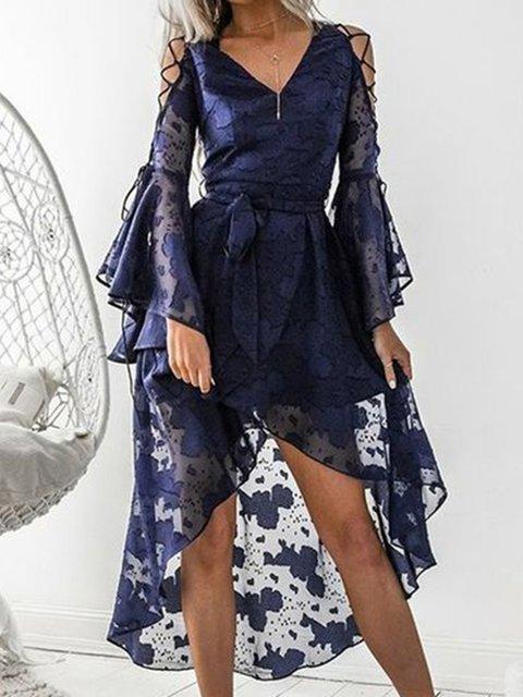 V Neck Blue Women Prom Dresses A-Line Party Elegant Paneled Dresses