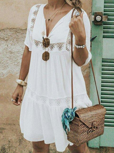 V Neck Women Dresses Daily Cotton-Blend Plain Dresses