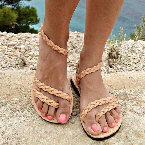 Vintage Plus Size Handmade Braided Flip-flops Sandals