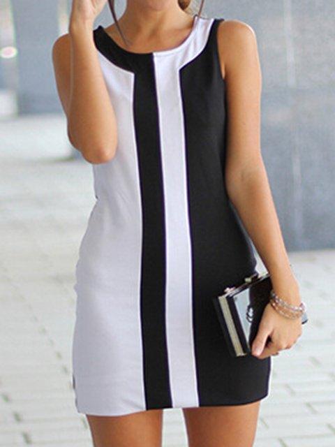 Crew Neck Summer Dresses A-Line Daily Paneled Elegant Dresses