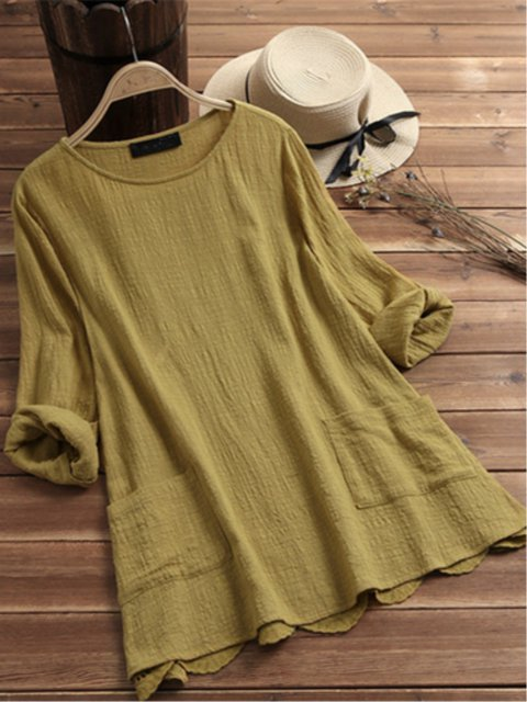 Long Sleeve Plain Blouses