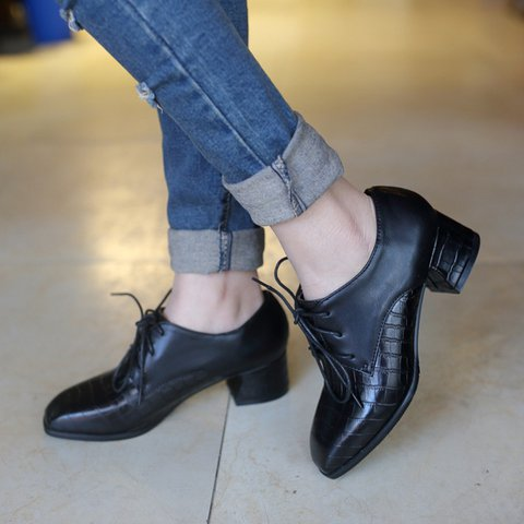 Office Lace-Up Women's Chunky Heel Oxfords