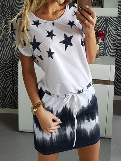 Stars Printed Summer Daily Simple Dresses