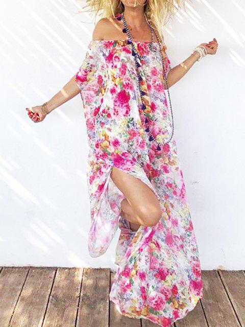 Off Shoulder Women Dresses Beach Chiffon Slit Dresses