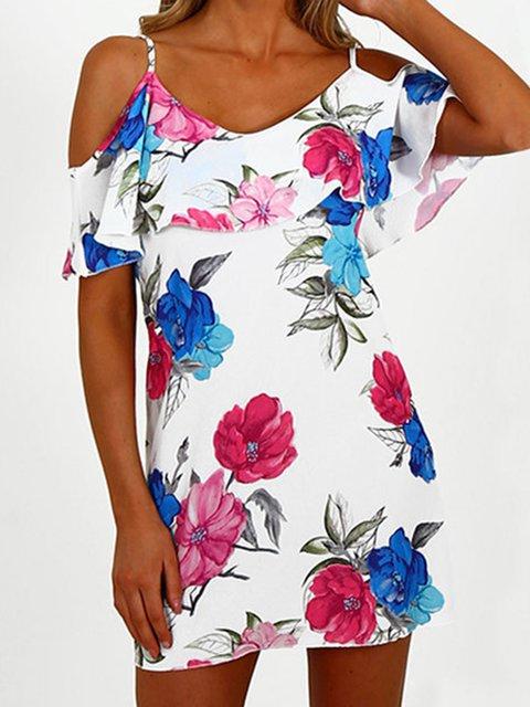 Cold Shoulder Women Dresses Shift Beach Cotton Floral-Print Dresses