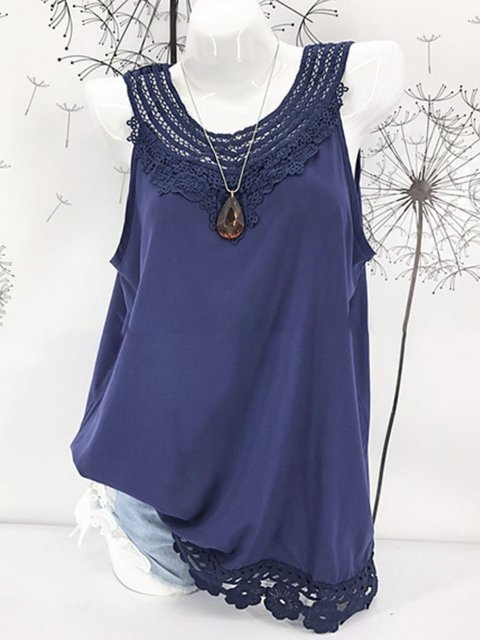 Summer Sleeveless Paneled Chiffon Tanks
