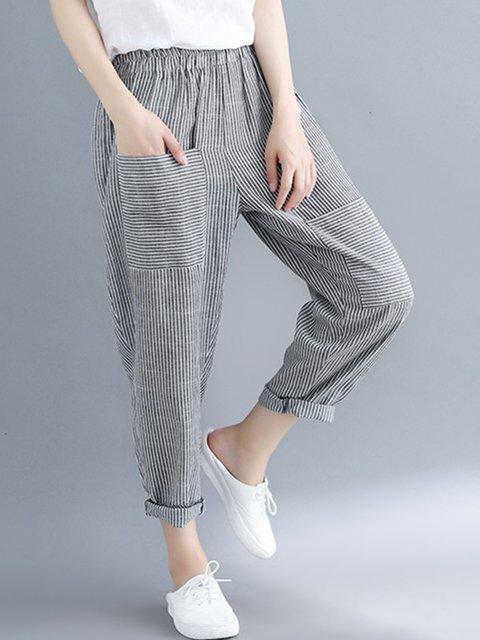 Stripe Sports & Outdoor Paneled Loose Harem Casual Pants
