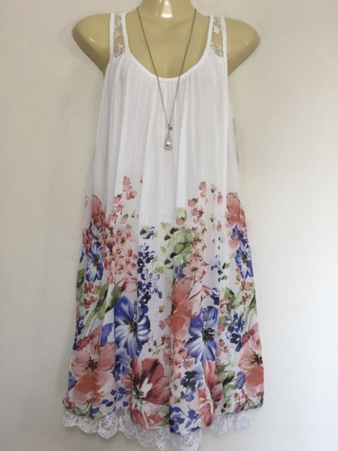 Summer Lace Paneled Floral Dresses