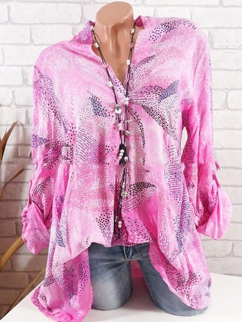 Floral Long Sleeve Casual Floral-Print Shirts