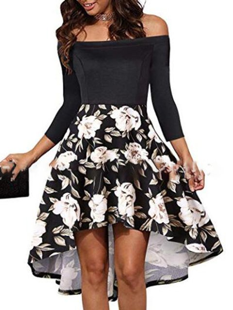 Off Shoulder Women Dresses A-Line Daily Elegant Floral Dresses