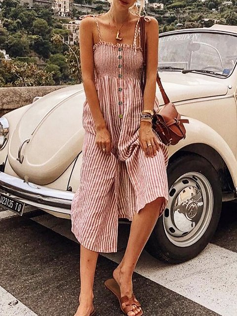 Pink Striped Spaghetti-Strap Ruffled Jumpsuits&rompers