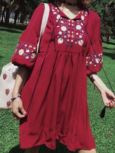 Crew Neck Women Summer Dresses Beach Cotton Paneled Dresses