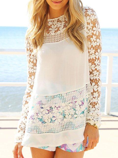 Fashion Elegant Chiffon Lace Paneled Blouses