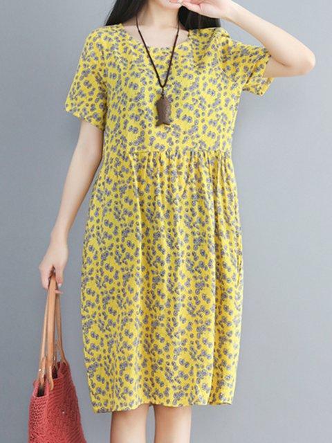 Crew Neck Women Dresses Daily Cotton-Blend Floral Dresses