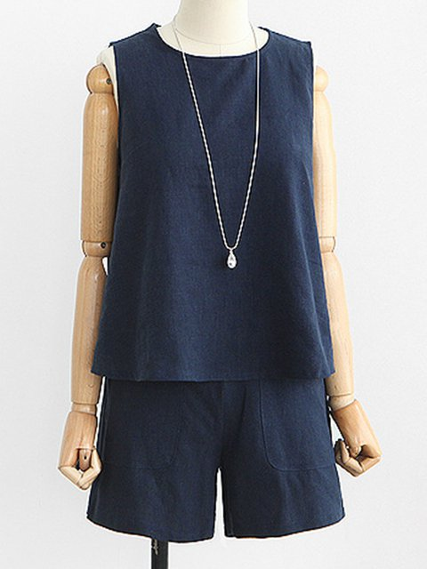 Summer Cotton Sleeveless Casual Sports Two-pieces Set