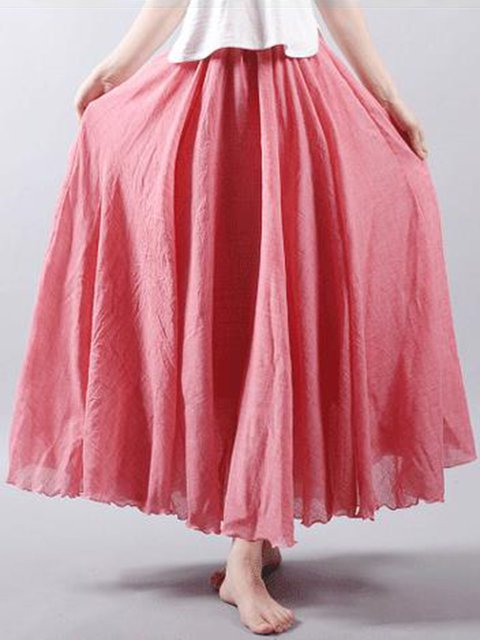 11Colors Cotton&Linen Soft Swing Skirts