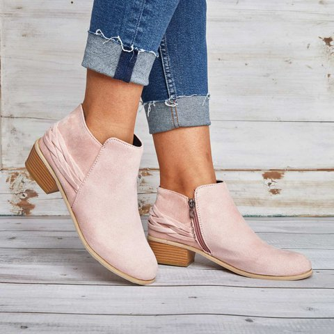Women Ankle Booties Casual Comfort Zipper Plus Size Shoes