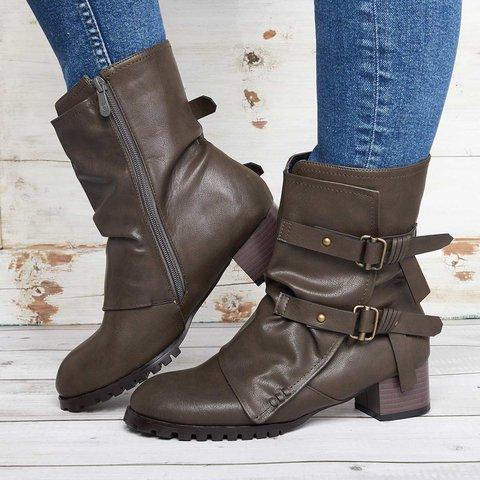 Women Vintage Buckle Boots Side Zipper Round Toe Plus Size Boots