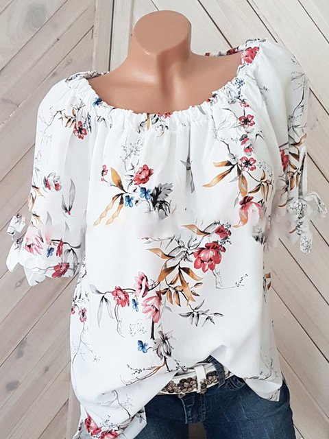 Floral Printed Half Sleeve Round Neck Blouses